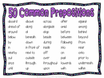 Prepositional Phrases Task Card Literacy Center {CCSS L.4.1.E}