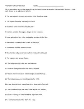 Prepositional Phrases Exercises