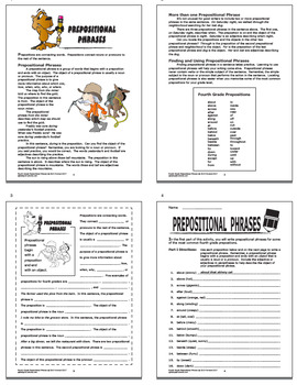 Prepositional Phrases Activities + COMPLETE Lesson, Full Color Poster (L.4.1e)