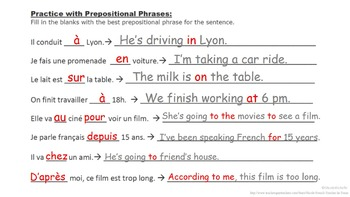 Prepositional Phrases, French Prepositions Vocab List: French Quick Lesson