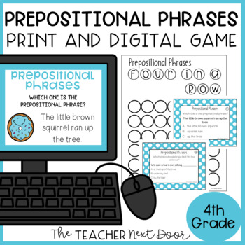 Prepositional Phrases Game | Prepositional Phrases Center Activity