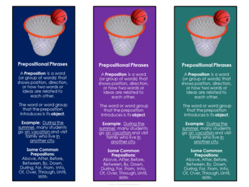 Prepositional Phrases - Interactive Bookmarks