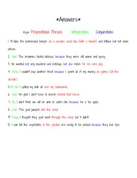 Prepositional Phrases, Interjections, and Conjunctions