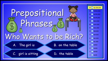 Prepositional Phrases Power Point Millionaire Game