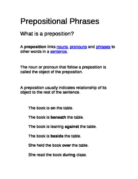 Prepositional Phrases Nomenclature Montessori