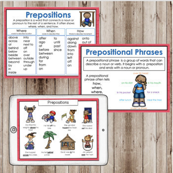 Prepositions, Prepositional Phrases, Posters, and Task Cards