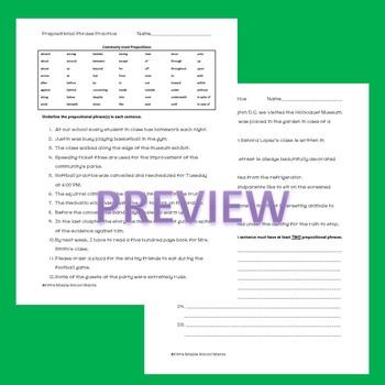 Prepositional Phrases Practice