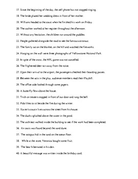 Prepositional Phrases Review Worksheet 2 Or Homework With Detailed