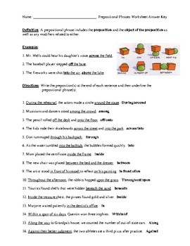 Prepositional Phrases Review Worksheet #2 or Homework with Detailed Answer Key