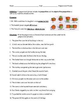 Prepositional Phrases Review Worksheet Or Homework With Detailed