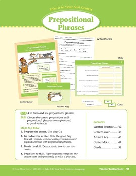 Prepositional Phrases (Take It to Your Seat Centers: Common Core Language)