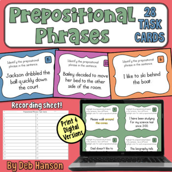 Prepositional Phrases Task Cards- Set of 28