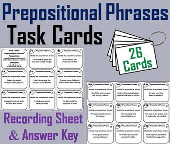 Prepositional Phrases Task Cards 4th 5th 6th 7th Grade