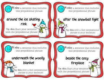 Prepositional Phrases Task Cards, Common Core Aligned.