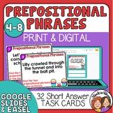 Prepositional Phrases Task Cards - Short Answer (2 phrases