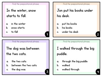Prepositional Phrases -  Task Cards for Reading Comprehension