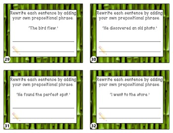 Prepositions and Prepositional Phrases Taskcards