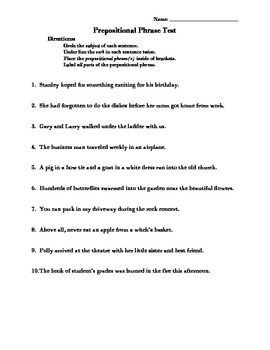 Prepositional Phrases Test with Answer Key
