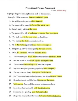 Prepositional Phrases Unit