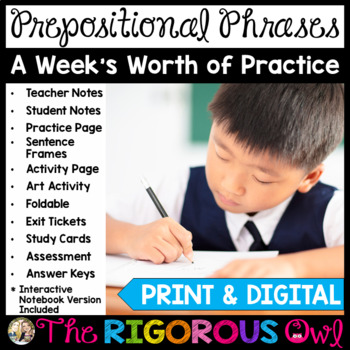 Prepositional Phrases Week Long Lessons! Common Core Aligned! L4.1e