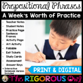 Prepositions and Prepositional Phrases Lesson with a Week'