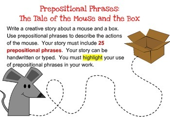 Prepositional Phrases Writing Activity