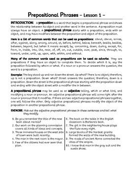 Prepositional Phrases and Appositives Worksheets. 7 grammar Lessons.
