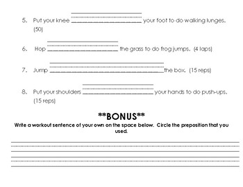 Prepositional Words Workout