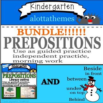 Prepositional phrase activities BUNDLE -Kindergarten