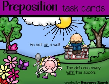 Nursery Rhyme Prepositions Positional Words Task Cards