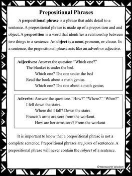 Prepositions - Prepositional Phrases No Prep Reading & Writing Activities Packet