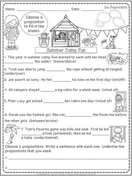 First Grade Prepositions