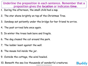 Prepositions (22 slide PowerPoint and 2 worksheets)
