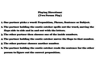 Prepositions Activity 2nd 3rd 4th Grade Grammar Games (Parts of Speech Foldable)