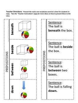 Prepositions Interactive Notebook
