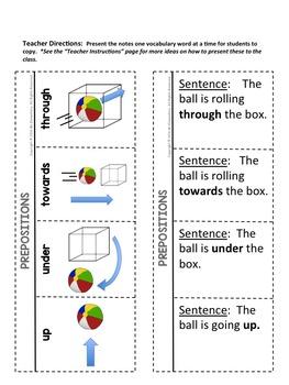 Prepositions Interactive Notebook