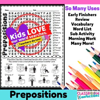 Prepositions Activity: Prepositions Word Search