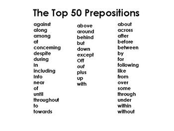Prepositions (3 part cards )