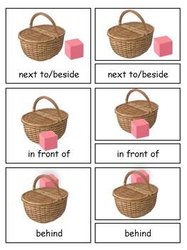 Prepositions 3-part cards--Montessori Language Arts