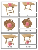 Prepositions 3-part cards--Montessori Language Arts--Monte