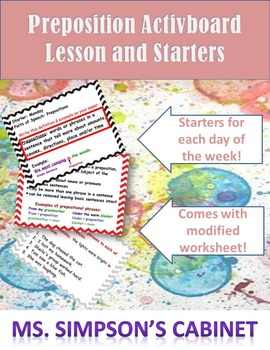 Prepositions ActivBoard (or Power Point) Lesson and Starters