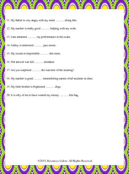 Prepositions: After Adjectives