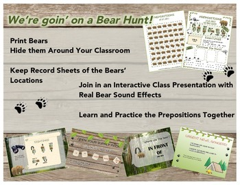 Prepositions Bear Hunt Interactive Activity and Review