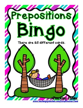 Prepositions Bingo Game