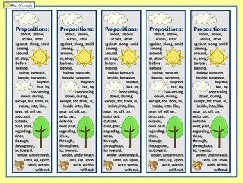 Prepositions Book Mark