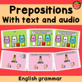 Prepositions Boom Cards Bundle with text and audio   Engli