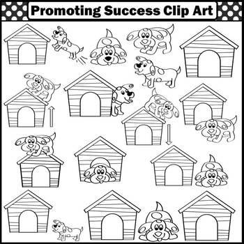 Prepositions Clipart, Dog Clip Art, Doghouse, Language Arts Clip Art, SPS