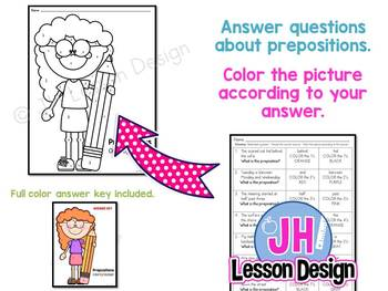 Prepositions Color By Number