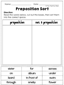 Prepositions Common Core Practice Sheets L.1.1.I