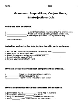 Prepositions, Conjunctions, Interjections Quiz